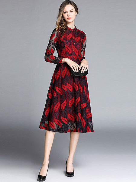Leaf Embroidery Stand Collar Long Sleeve Hollow Out Lace A-Line Midi Dress