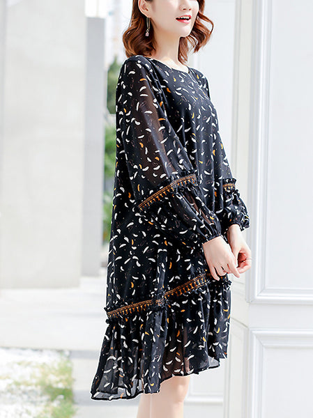Simple Feather Pattern O-Neck Long Sleeve Stitching Falbala Dress