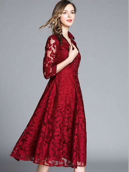 Pure Color Lace Tie-Up V-Neck 3/4 Sleeve A-Line Dress
