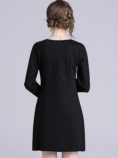 Embroidery O-Neck 3/4 Sleeve Hollow Out One-Step Dress