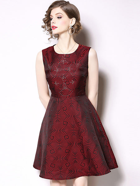 Jacquard O-Neck Sleeveless Collect Waist A-Line Dress