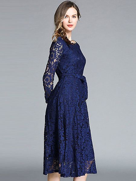 Hollow Out Lace Boat Neck Long Sleeve Lacing Big Hem Midi Dress