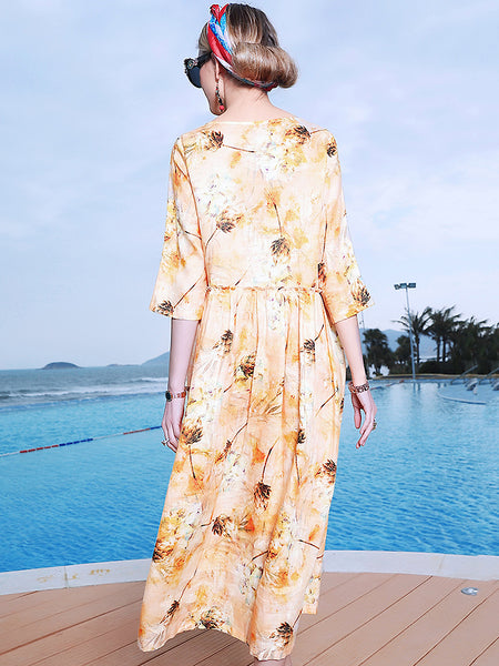 Print O-Neck Half Sleeve Loose Waist Dress