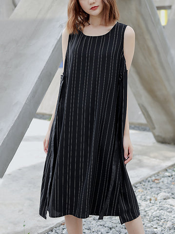 Stripe O-Neck Sleeveless Lacing Loose Waist Dress