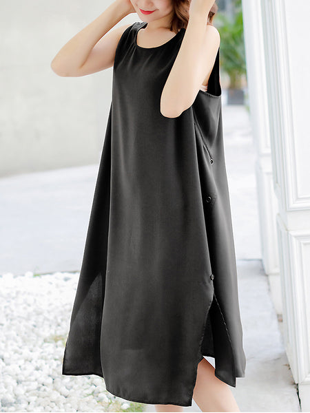 Pure Color O-Neck Sleeveless Double-Breasted Dress
