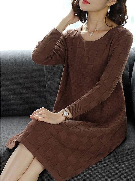 Pure Color Knit Plaid Stitching O-Neck Long Sleeve Shift Dress