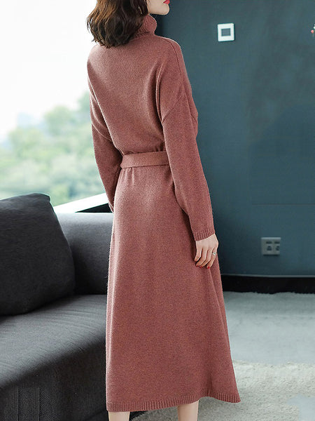 Pure Color High Collar Long Sleeve Lacing Knit Dress