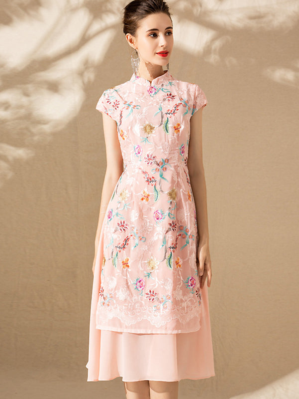 Floral Embroidery Cheongsam Collar Sleeveless Stitching A-Line Dress