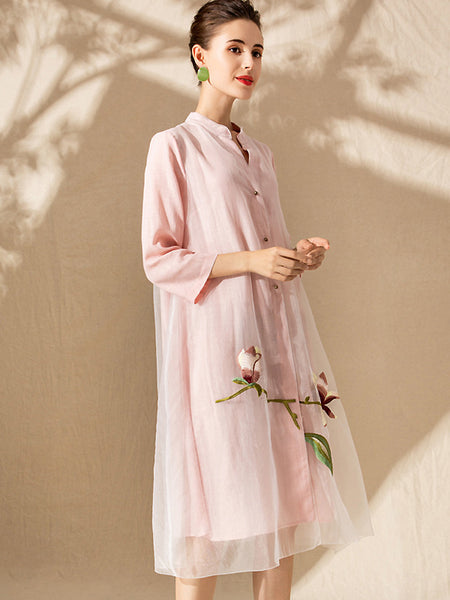 Embroidery O-Neck 3/4 Sleeve Mesh Stitching A-Line Midi Dress