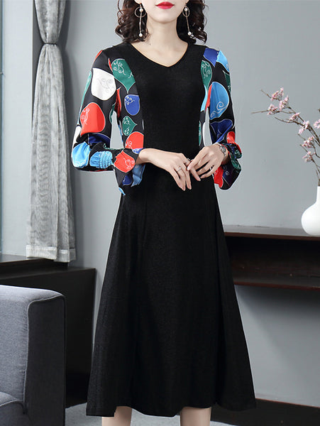 Stylish Print V-Neck Flare Sleeve A-Line Midi Dress