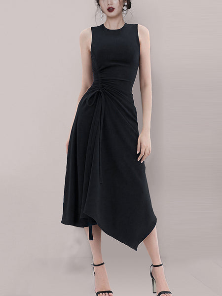 Party Pleated Irregular O-Neck Sleeveless Slim Little Black Dress