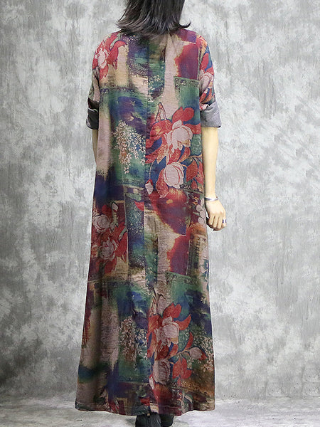 Cotton Print O-Neck Single-Breasted Big Hem Dress