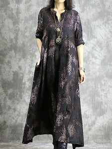 Brief Slash Neck Long Sleeve Loose Waist Maxi Dress