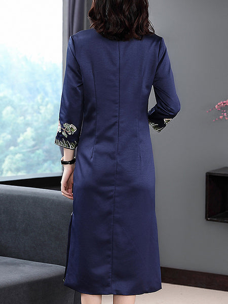 Folk Embroidery Stand Collar Long Sleeve Split Dress