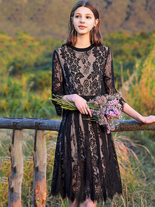 Lace Hollow Out O-Neck 3/4 Sleeve Fit & Flare Dress