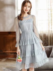 Polka Dot Mesh Stitching O-Neck See-Through Long Sleeve Dress