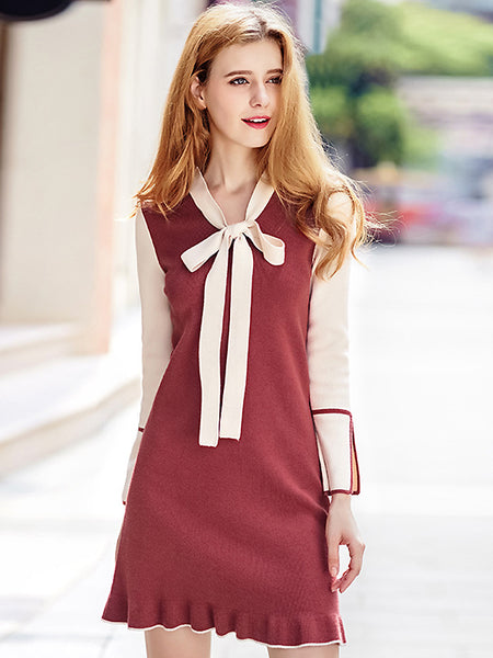 Simple Knitted Stitching Bowknot Collar Long Sleeve Fit & Flare Dress