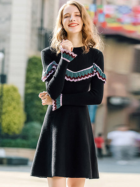 Black Knitted O-Neck Long Sleeve Ruffted Fit & Flare Dress