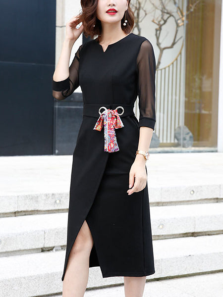 Black Cotton V-Neck 3/4 Sleeve Lacing Fit & Flare Dress