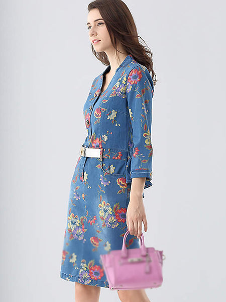 Denim Bowknot Pattern V-Neck Long Sleeve High Waist Dress