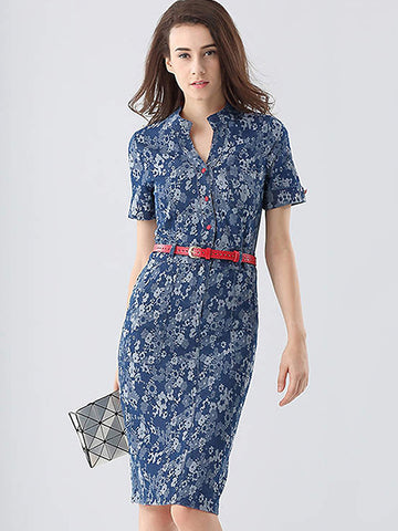 Print V-Neck Short Sleeve Belted One-Step Dress