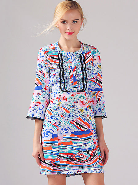 Stylish Print O-Neck Flare Sleeve Mini Dress