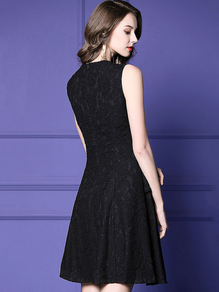 Lace Stitching Turn-Down Collar 3/4 Sleeve One-Step Dress