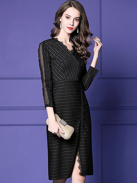 Stripe Lace Stitching V-Neck Long Sleeve Slim Midi Dress