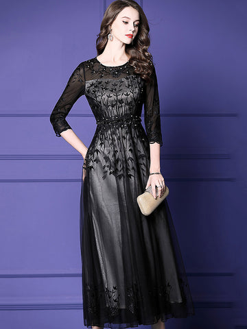 Party Mesh Embroidery O-Neck Long Sleeve Beaded Maxi Dress