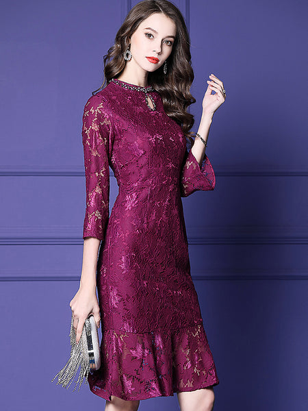 Lace Solid O-Neck 3/4 Sleeve Bodycon Fishtail Midi Dress