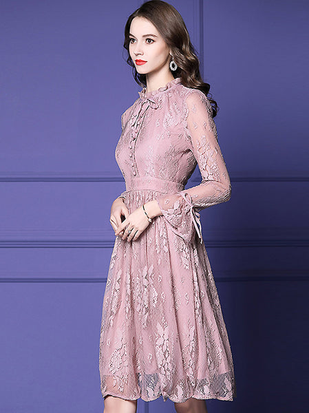 Sweet Lace O-Neck Flare Sleeve A-Line Midi Dress