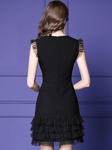 Lace Stitching Mesh V-Neck Sleeveless A-Line Dress
