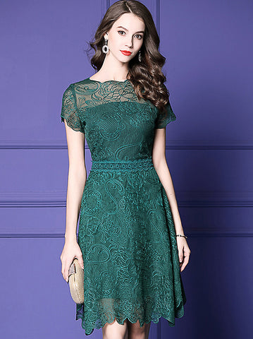 Lace Embroidery O-Neck Short Sleeve Falbala A-Line Dress