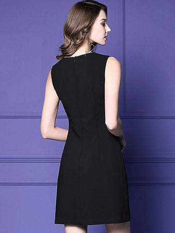 Stylish Solid O-Neck Sleeveless Pencil Dress
