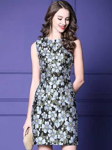 Jacquard Floral Print O-Neck Sleeveless A-Line Dress