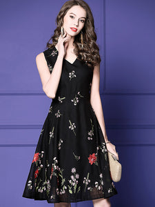 Floral Embroidery V-Neck Sleeveless A-Line Midi Dress