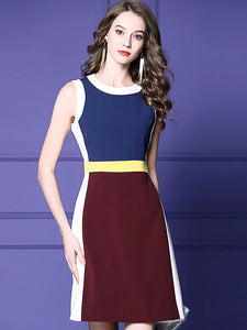 Fashion Hit Color Stitching Sleeveless A-Line Dress