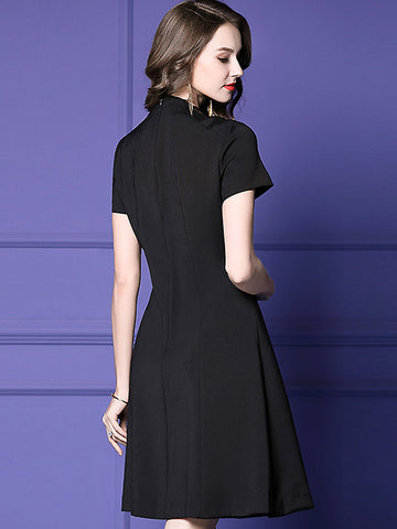 Pearl Button Solid Stand Collar Short Sleeve Little Black Dress