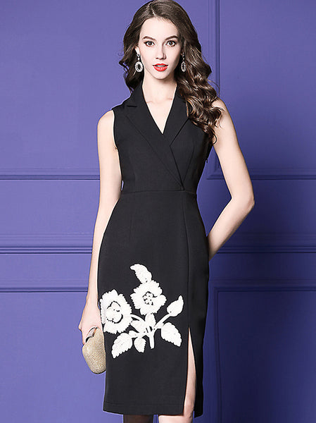 Elegant Floral Embroidery Lapel Collar Sleeveless Slit One-Step Dress
