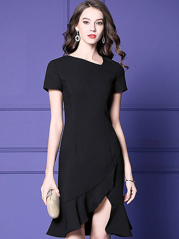 Stylish Solid Irregular Neck Short Sleeve Falbala Fishtail Dress