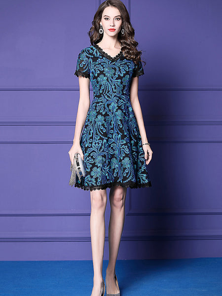 Lace Stitching Embroidery V-Neck Short Sleeve A-Line Dress