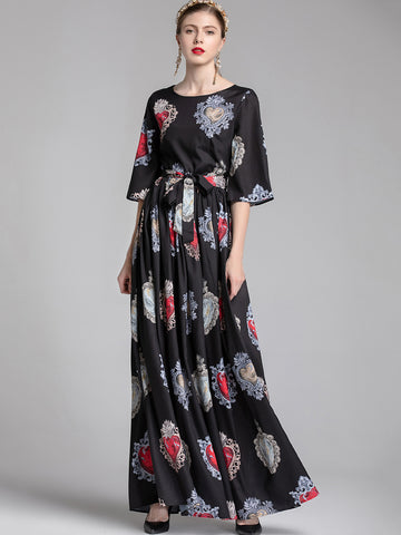 Stylish Print O-Neck Flare Sleeve Big Hem Maxi Dress