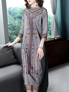 Simple Mesh Stitching KEmbroidery 3/4 Sleeve A-Line Dress