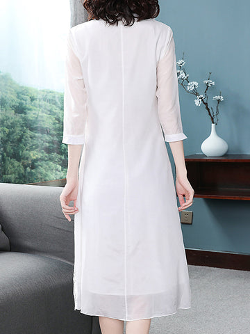 Suave Pure Color V-Neck Half Sleeve Hollow Out KEmbroidery Dress