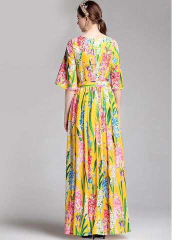 Floral Print O-Neck Flare Sleeve Lacing Slim Big Hem Maxi Dress