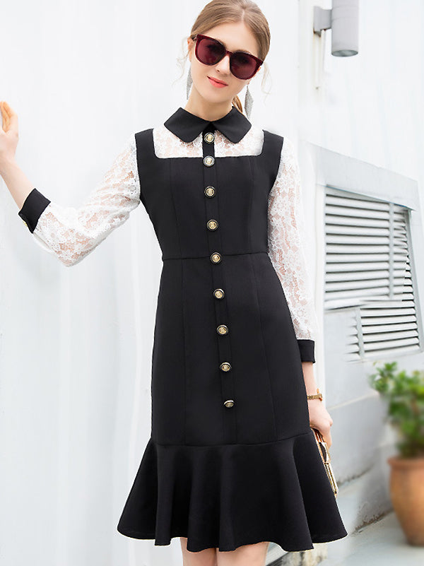 Lace Stitching Long Sleeve Single-Breasted Mermaid Dress