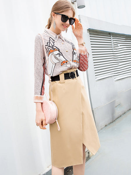 Two Piece Simple Print Shirt & Belted Irregular Dress
