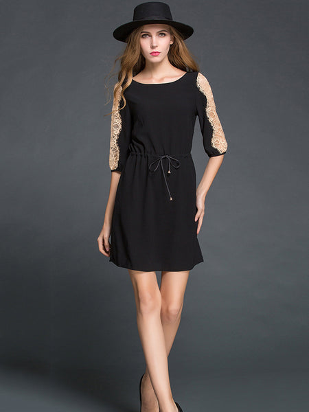 O-Neck Stitching Lace Half Sleeve Lacing Skater Dress
