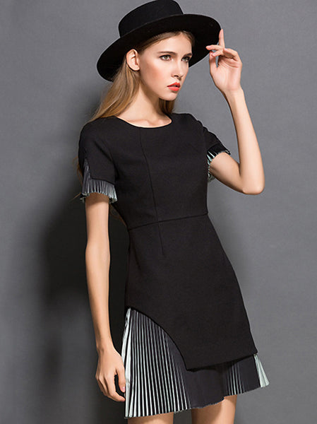 Brief Pure Color Stitching Collect Waist Mini Dress