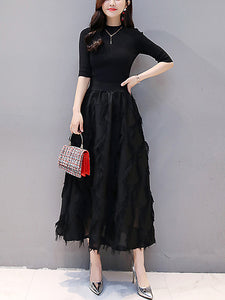 Stitching Knitted Long Sleeve Tassels Big Hem Dress